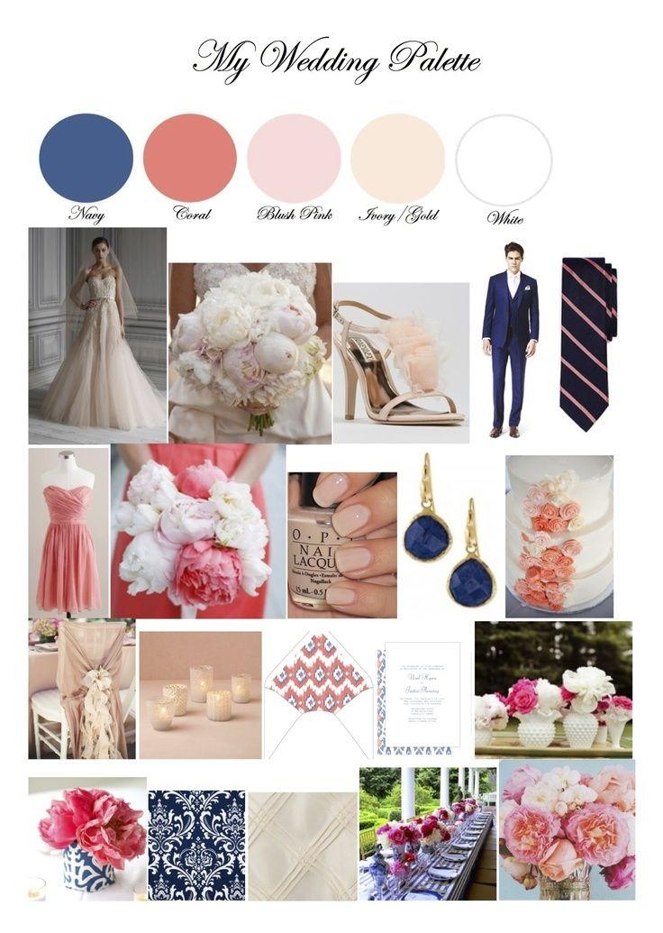 Lovely Navy Coral Blush Pink Ivory Gold Wedding Palette