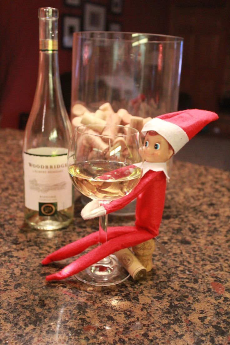 elf on the shelf drinking wine | Elf on the Shelf Ideas - Naughty ...