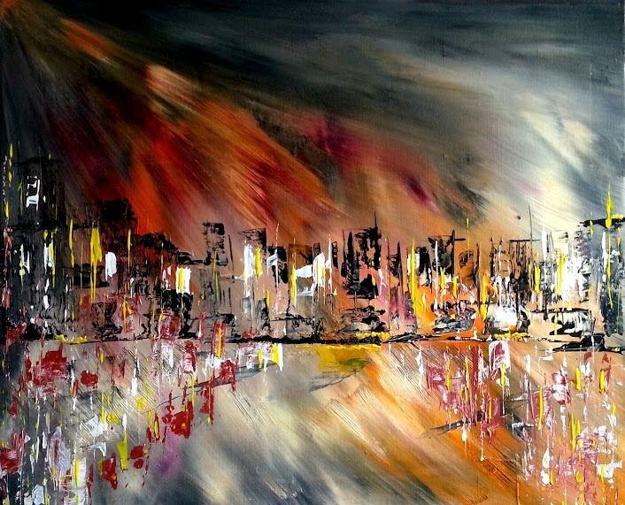 Tableau city light tableau super moderne peintures par for Ville super moderne