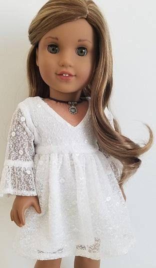 5afda699f White Lace Dress for American Girl Dolls Acessorios Para Bonecas