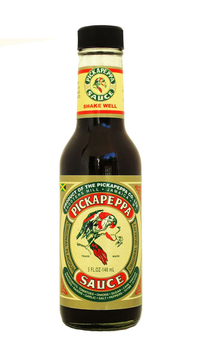 Pickapeppa: mild Jamaican hot sauce reminiscent of Worcestershire. Yum! #condiments