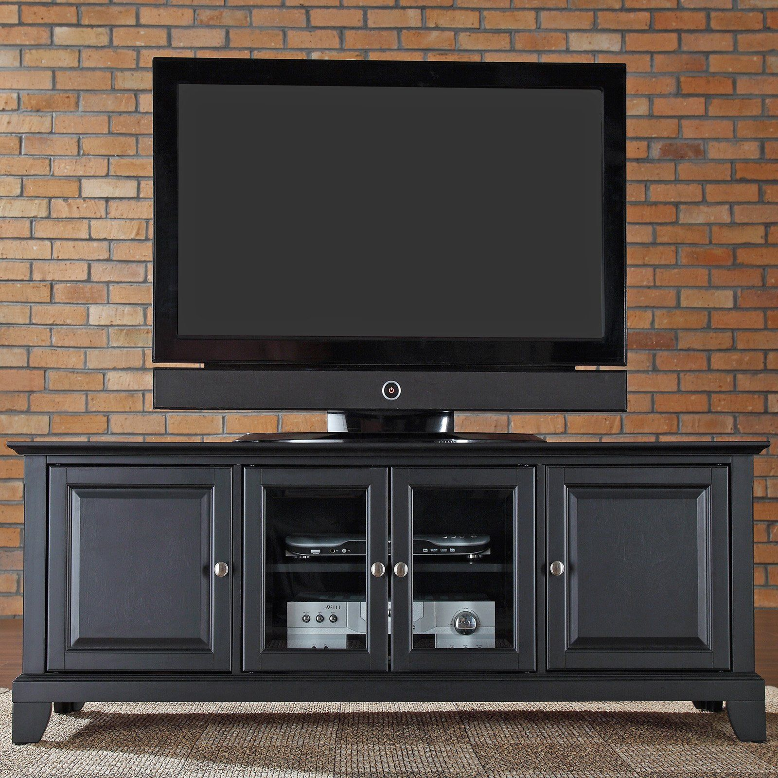 Crosley Newport 60 in Low Profile TV Stand Black