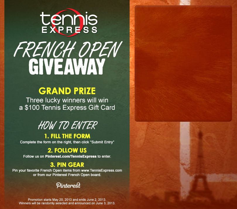 Give Away French Open Pinterest Promotion Tennis And French Open