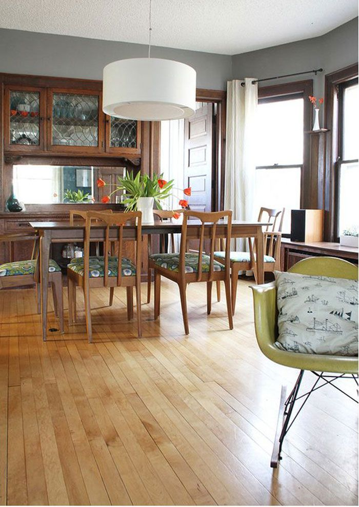 Living happily with wood trim paint colours that play for Dark grey dining room