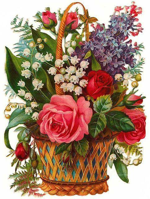 Советские открытки цветы в корзине строю
