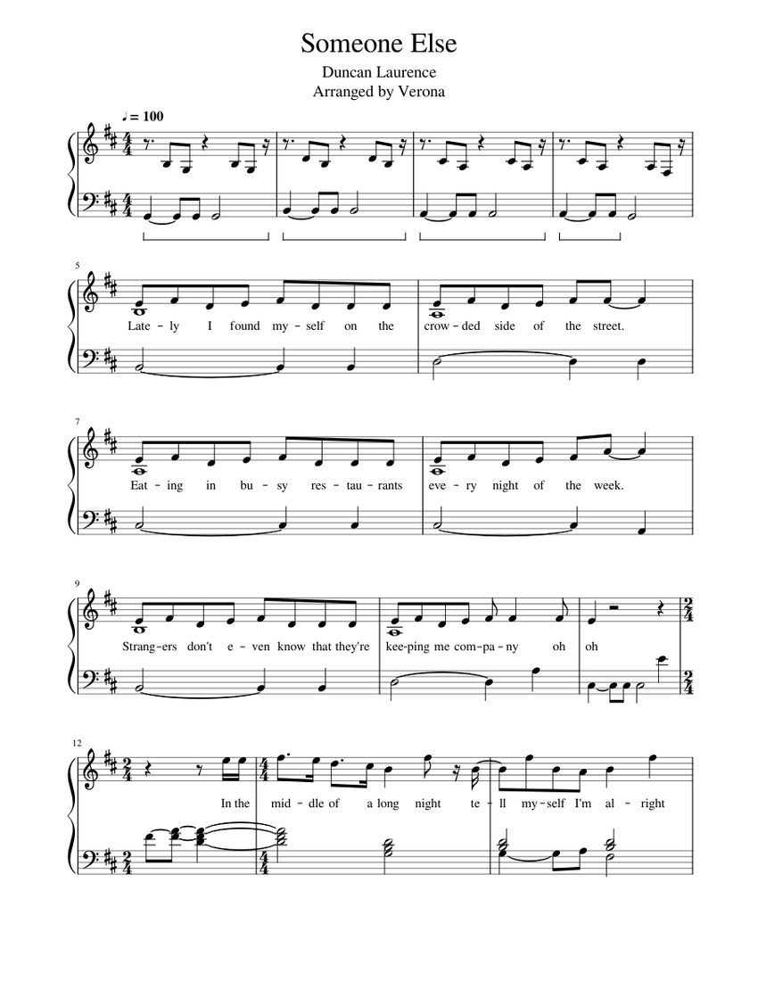 Someone Else   Duncan Laurence   FREE SHEET MUSIC   Sheet music ...