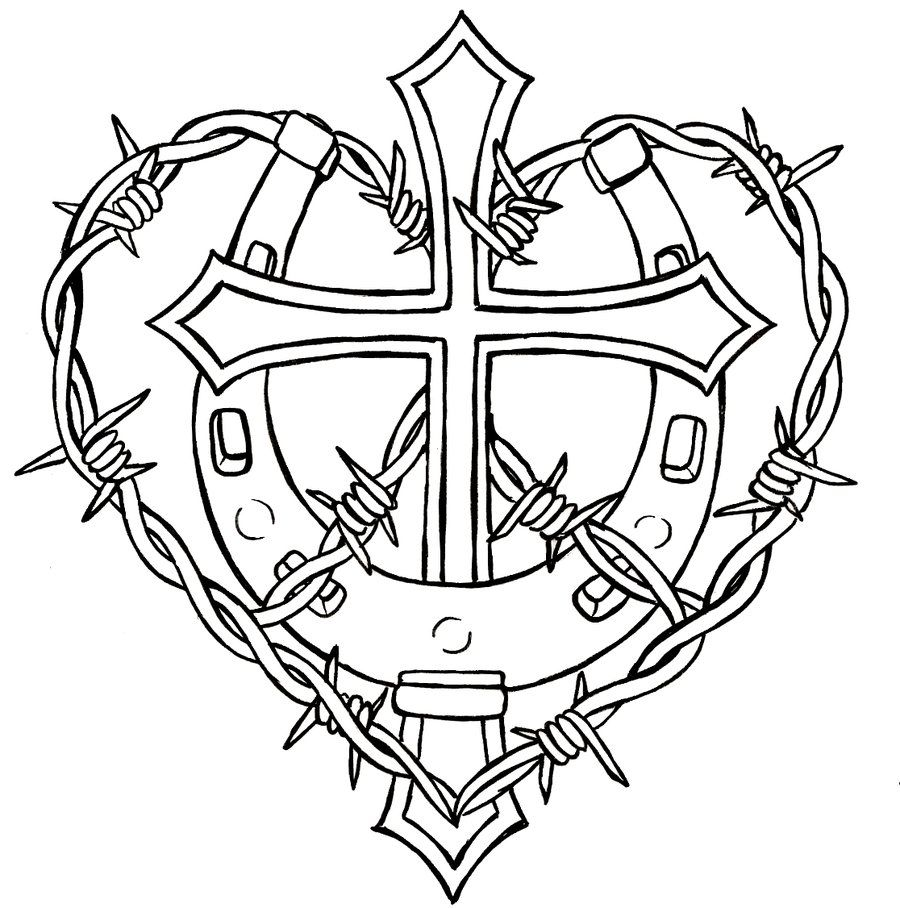Cross with Horseshoe and Barbed Wire Tattoo by Metacharis.deviantart ...