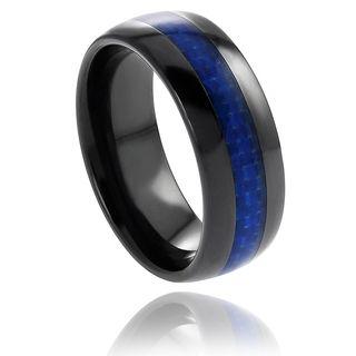 Ceramic Blue Carbon Fiber Inlay Band 8