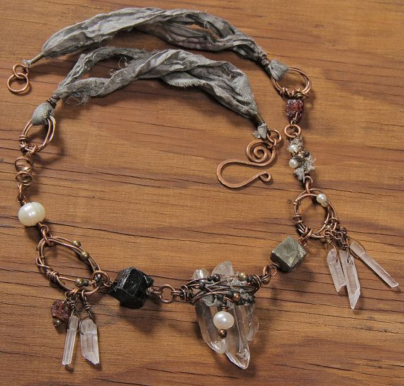 Shaman Rising necklace: crystal quartz sticks by StudioEgallery