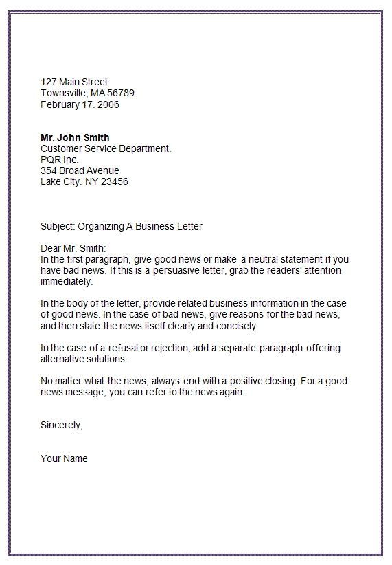 Letter Format Re How To Write A Business Letter To Customers With