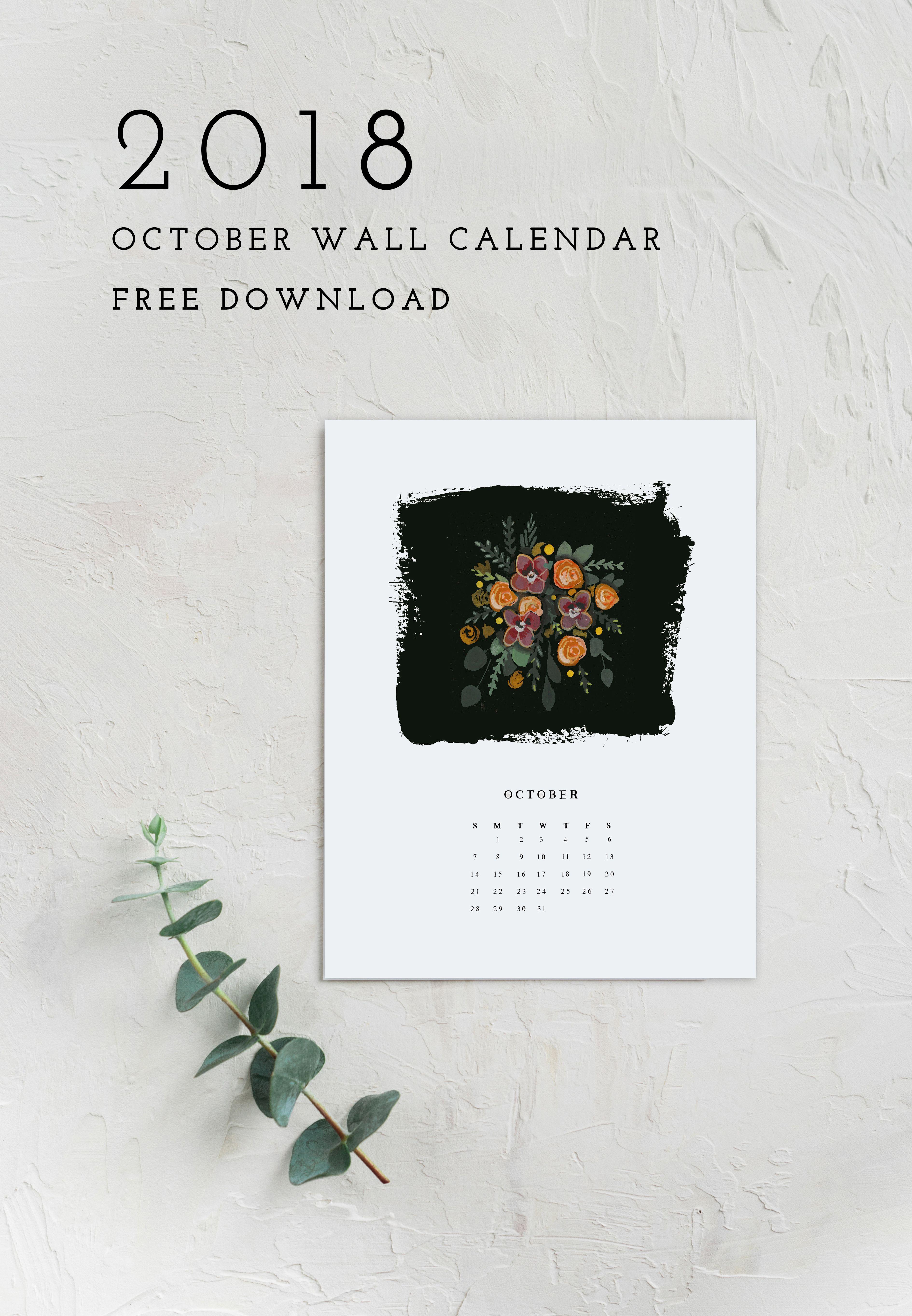 2018 October Calendar Printable Download calendar