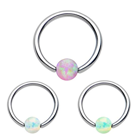 Opal Ring Piercing Hoop Ball Closure With Gem Looks Gorgeous In Lots Of Piercings Like The Nose Or Helix