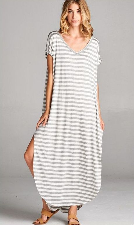 Oversized grey striped convertible maxi dress