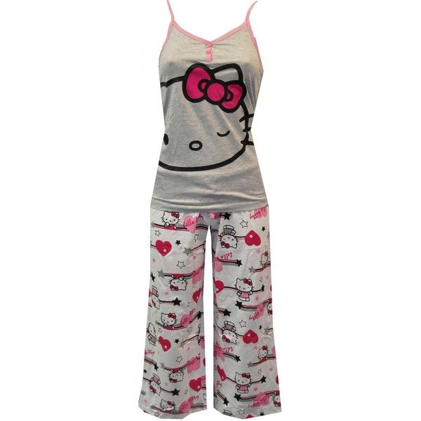 Hello Kitty Pink Power Grey Tank and White Capri PJ Set ❤ liked on Polyvore