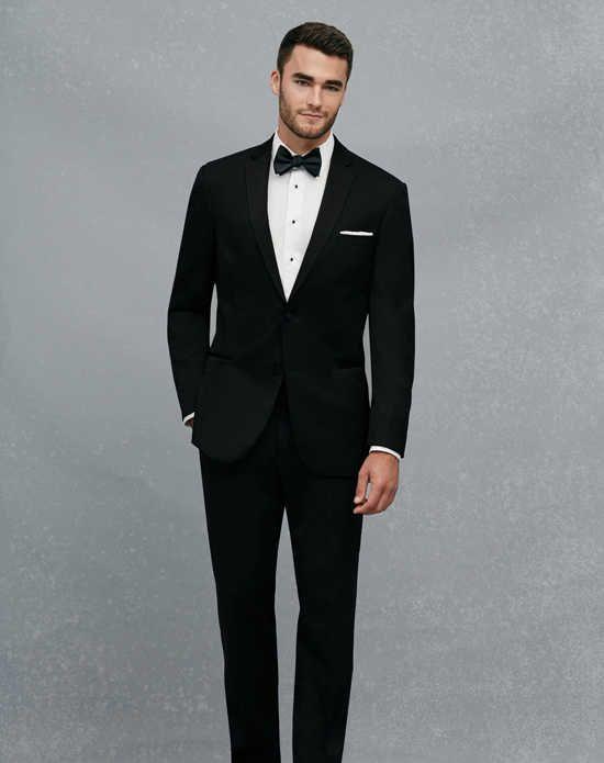 A Bank Black Notch Lapel Slim Fit Tuxedo Wedding Tuxedos Suit Photo