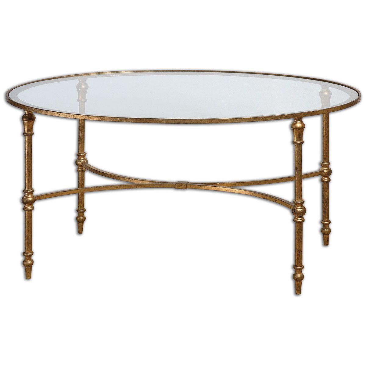 - Uttermost Vitya Glass Coffee Table 24338 Iron Coffee Table, Oval