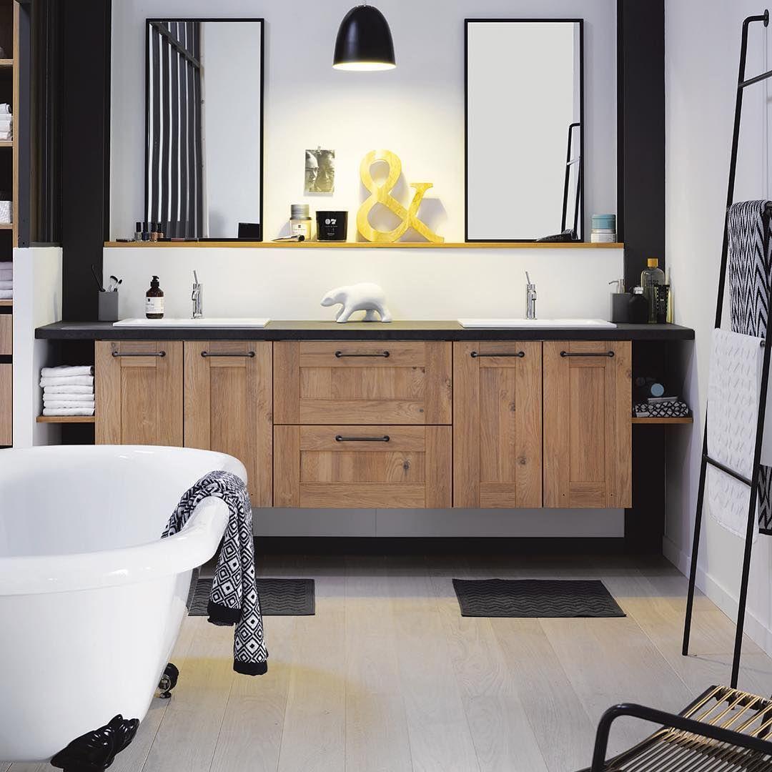 Cuisinella On Instagram Du Bois Du Blanc Du Noir La Combinaison Ideale Pour Une Salle De Bains Tendance Non Bathroom Furniture Bathroom Bathroom Design