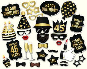 50th birthday photo booth props: printable PDF. Black and gold Fiftieth birthday party supplies. Instant download Mustache, lips, glasses #21stbirthdaydecorations