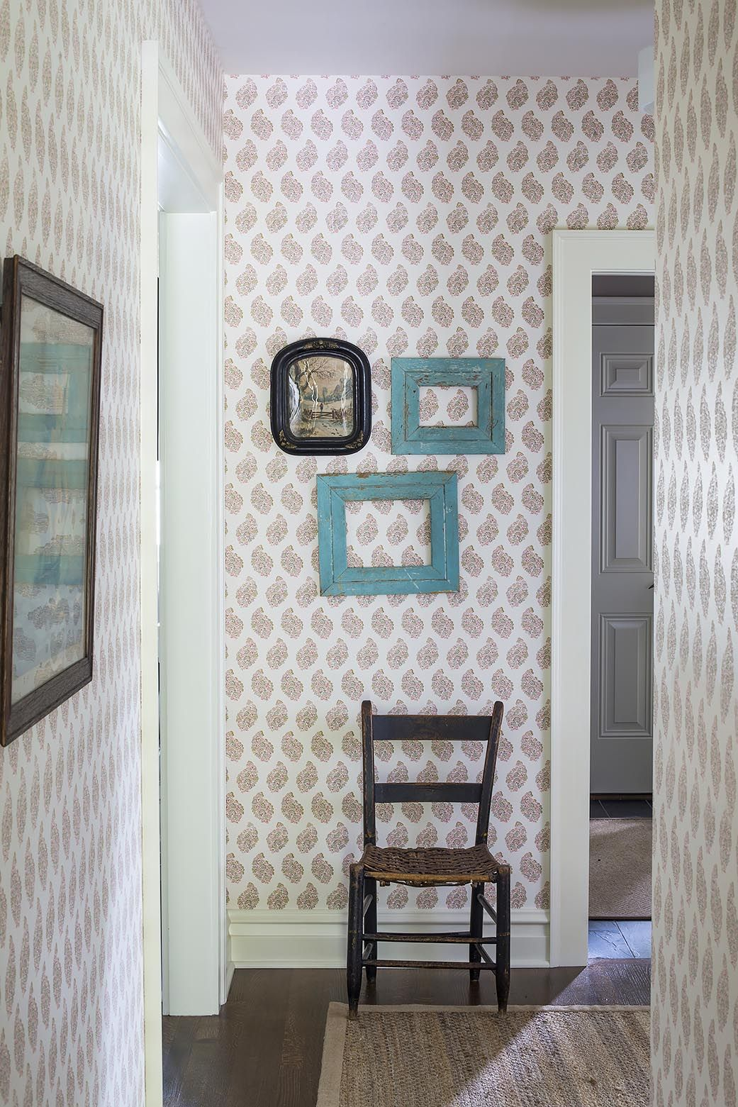 Wallpaper on hallway  Paisley wallpaper R Cartwright Design  Des Moines Iowa Interior