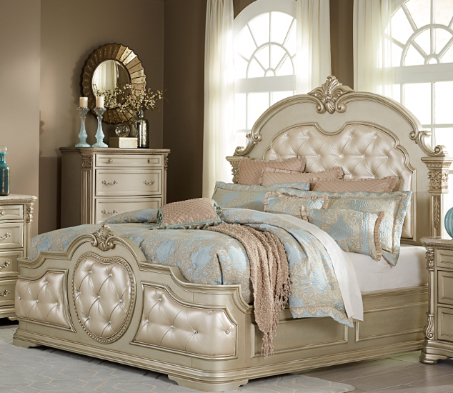 New Homelegance Antoinetta Queen Size Bed 1919nc 1 Savvy Discount Furniture Upholstered Panel Bed Upholstered Sleigh Bed Bed
