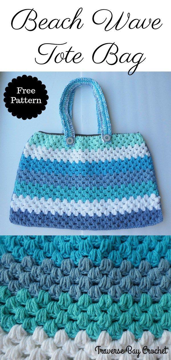 Beach Wave Crochet Tote Bag - | Pinterest | Bolsos, Bolsos en ...