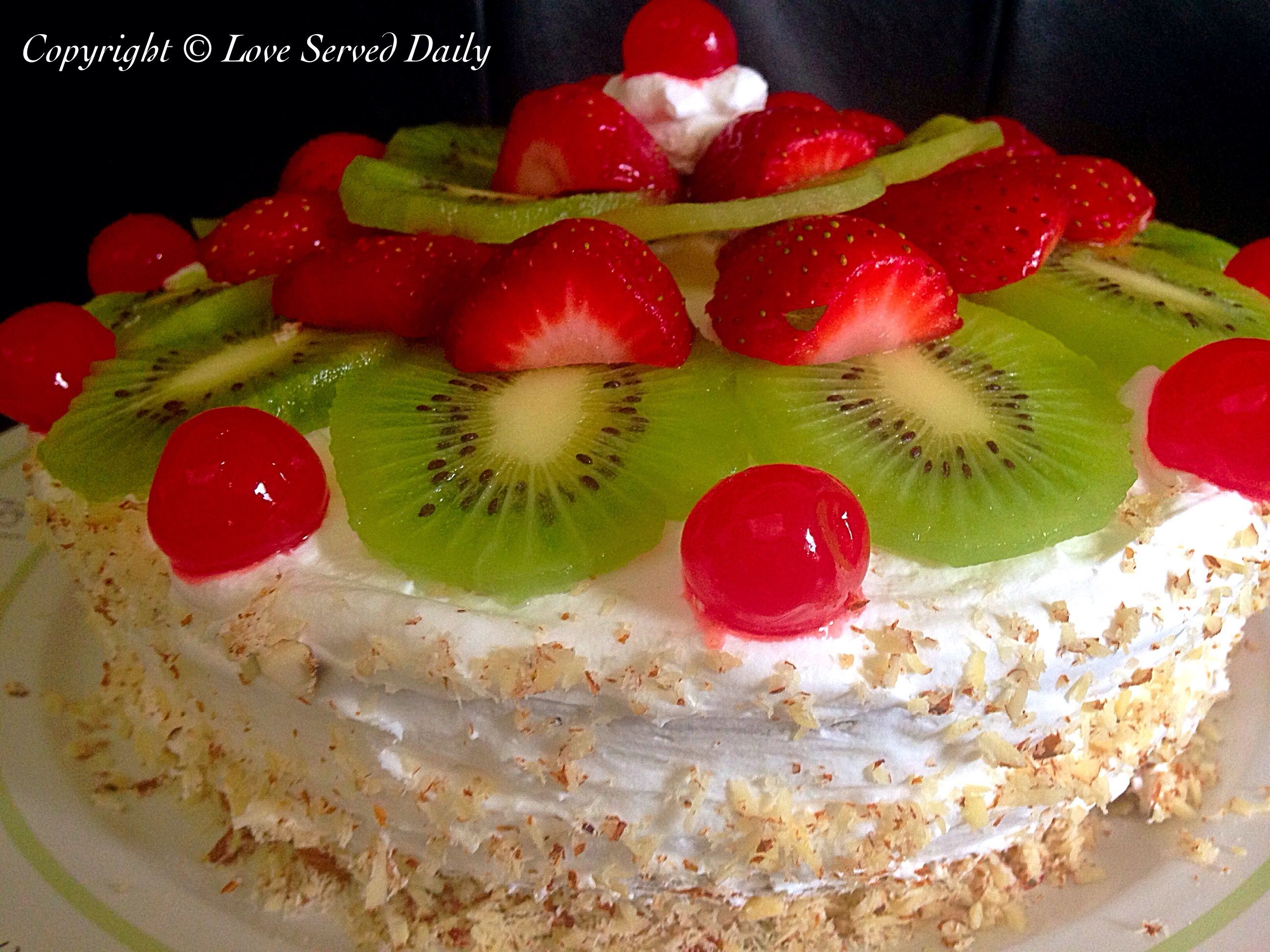 Fresh Fruit Eggless Vanilla Cake