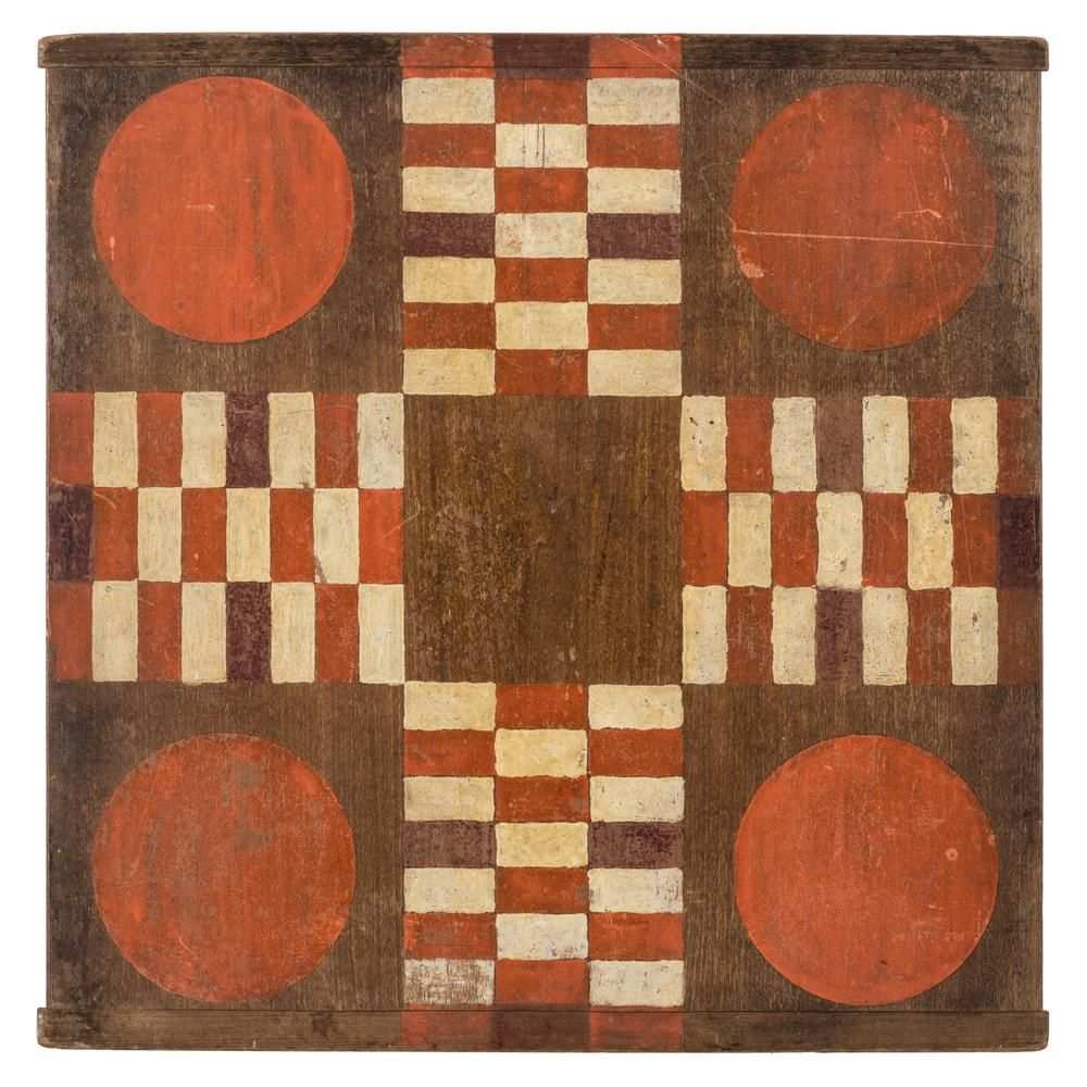 A Red and White Painted Walnut Parcheesi Board in 2020