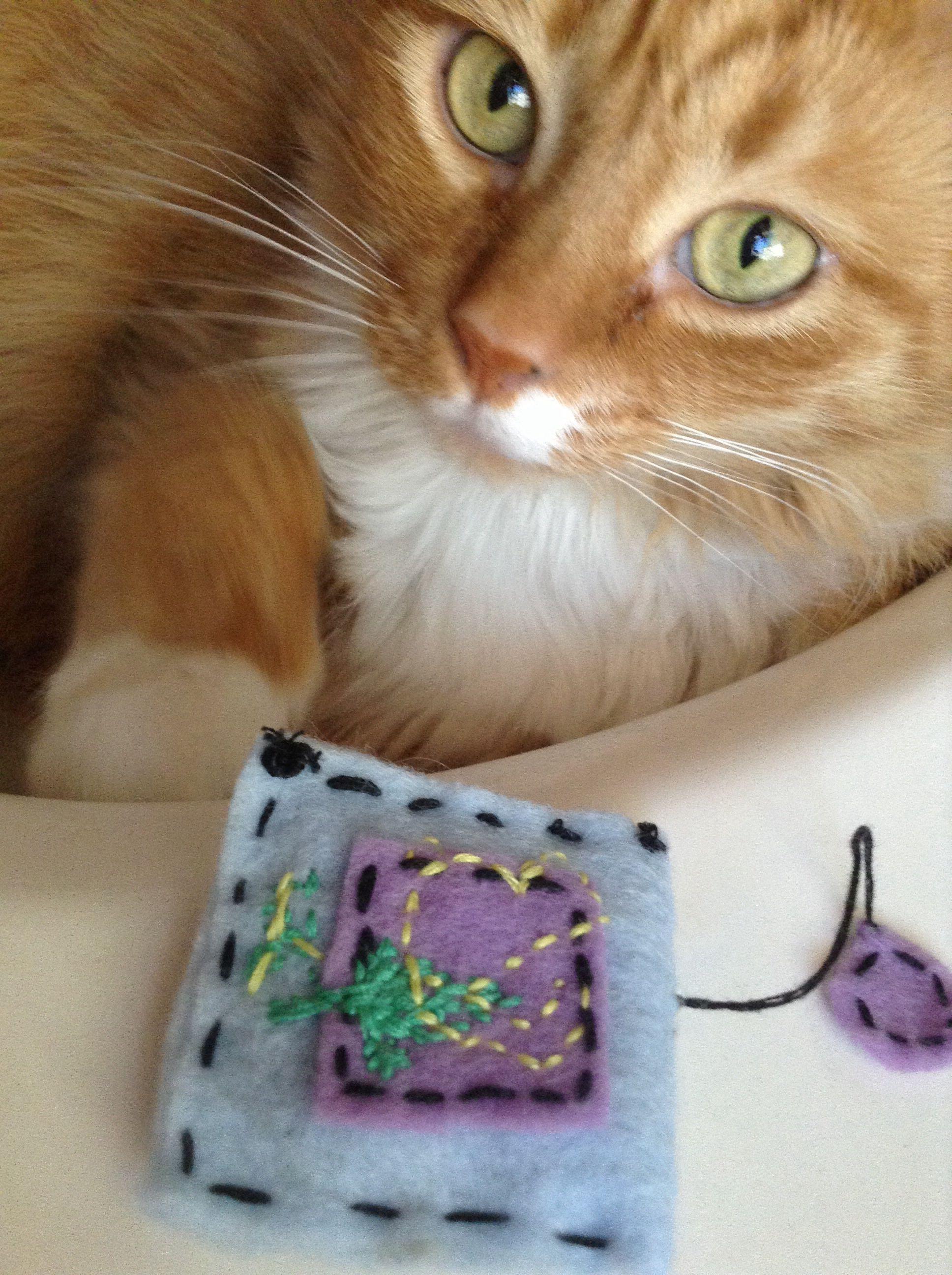 Hand sewn catnip tea bag Cats, Hand sewing, Catnip