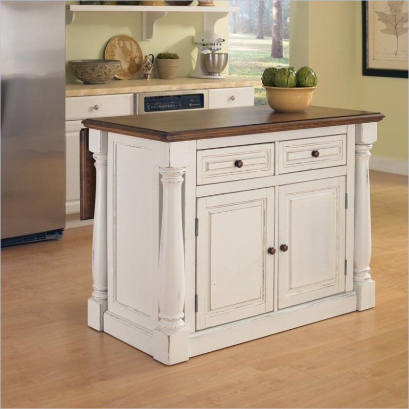 Home Styles Monarch Antiqued Kitchen Island In Antiqued White Portable Kitchen Island White Kitchen Island Antique White Kitchen