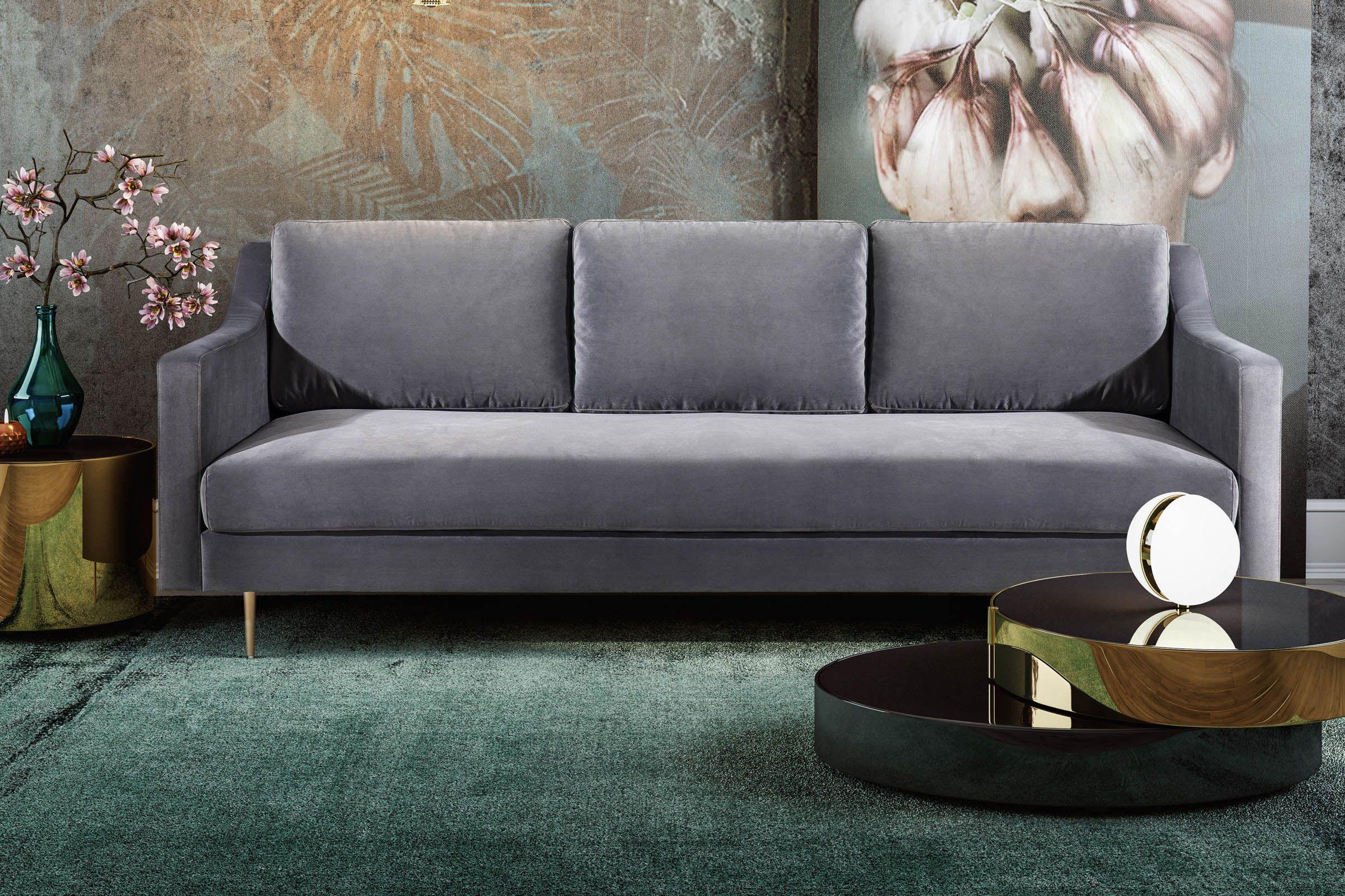 Milan Grey Velvet Sofa By Tov In 2020 Velvet Sofa Grey Velvet Sofa Sofa