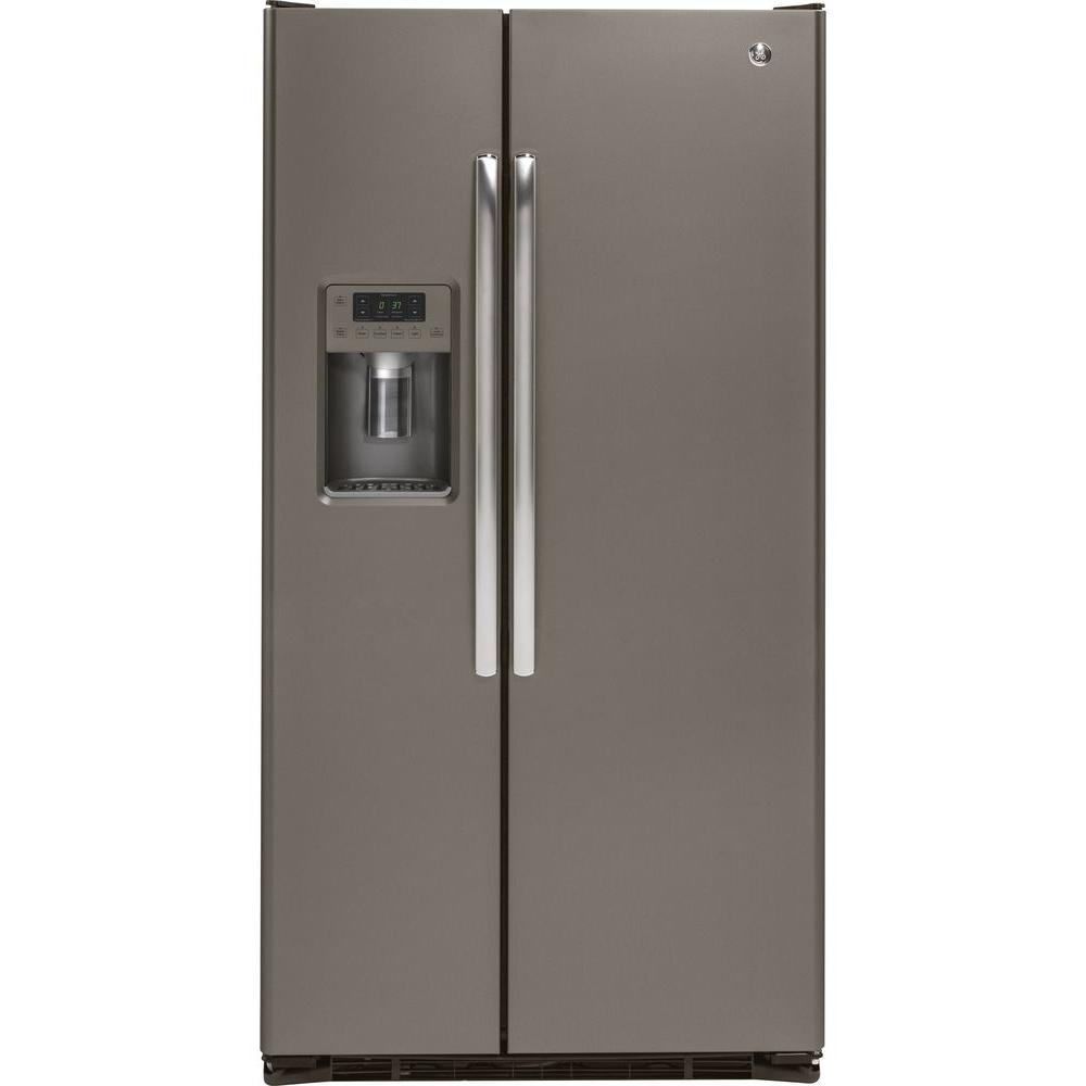 Ge 36 In W 21 9 Cu Ft Side By Side Refrigerator In Slate With