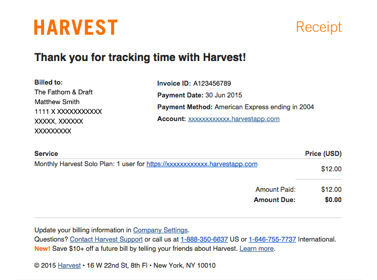 Harvest sent this email with the subject line [Harvest