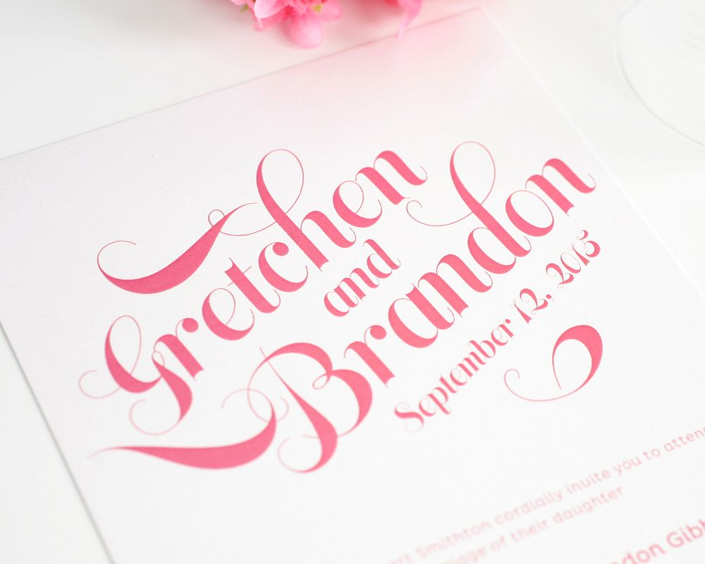 Wedding Invitations In Pink Traditional Pinterest