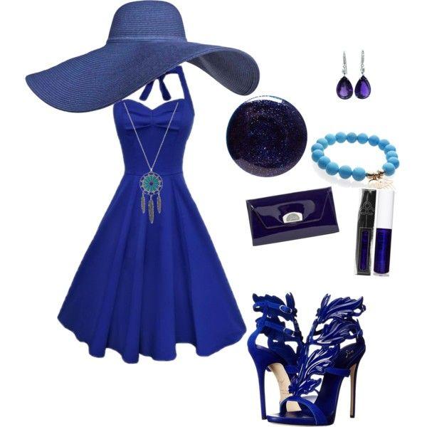 Blue by elimedinacibeira on Polyvore featuring polyvore fashion style Giuseppe Zanotti Christian Louboutin Lauren B. Beauty clothing
