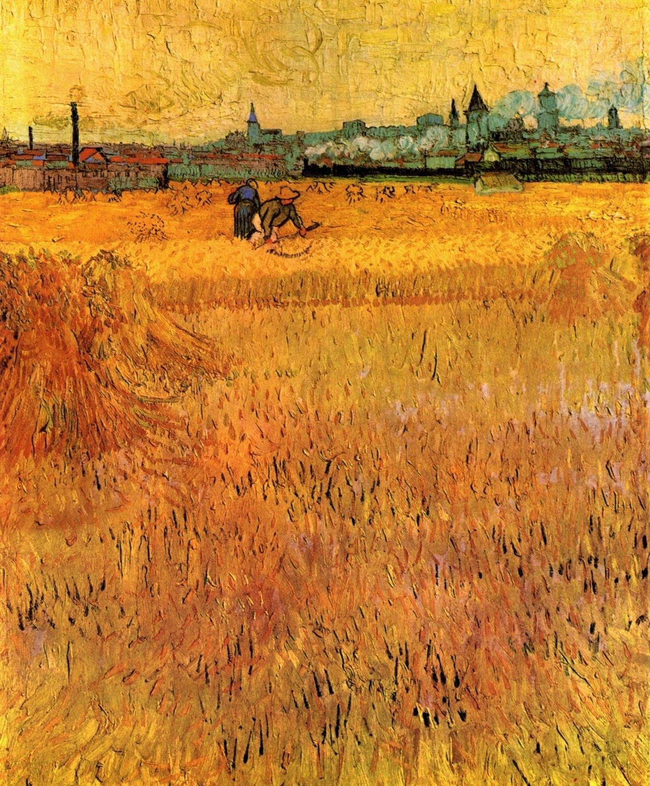 Wheat field with a view of Arles by Van Gogh Giclee Print Repro on Canvas