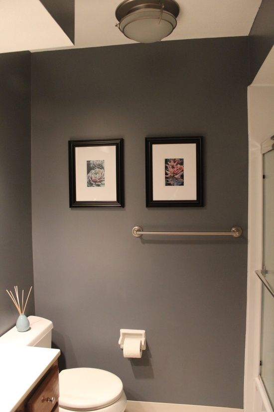 Gray Bathroom color - with coral accents -Truly considering this for