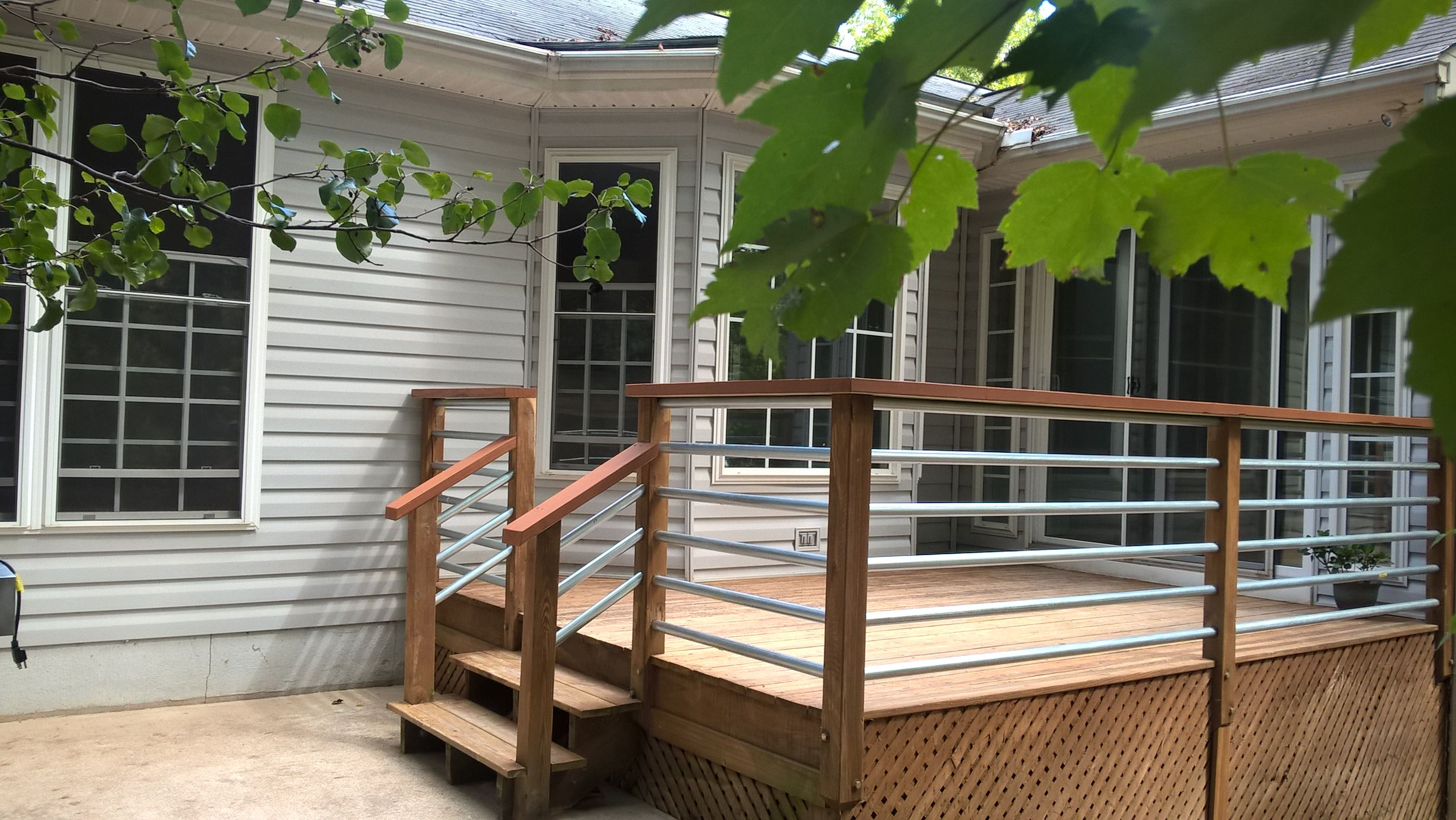 Horizontal railing using 1 25 conduit deck makeover