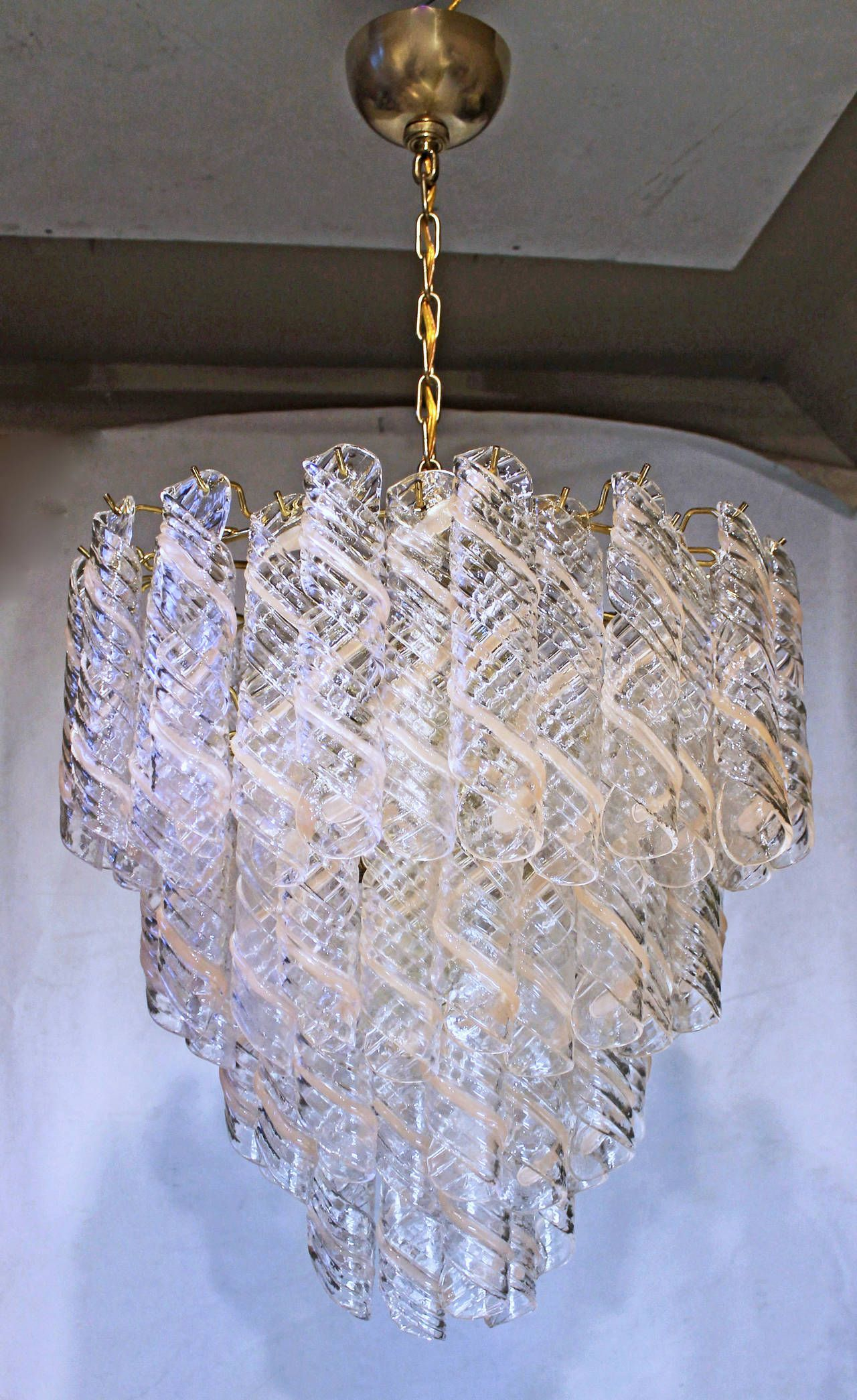 Italian Mazzega Style Murano Swirled Glass Chandelier  Trendy decoration 1000euro