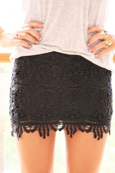 black lace skirt
