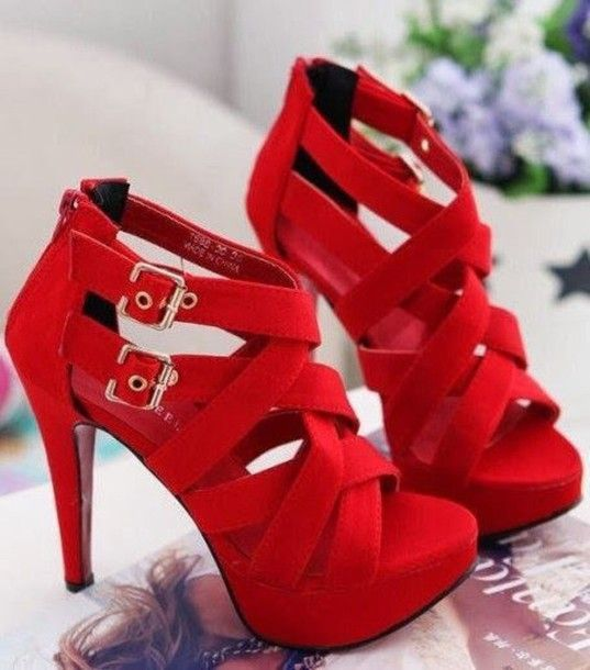 Shoes | Red, Red strappy heels and Heels