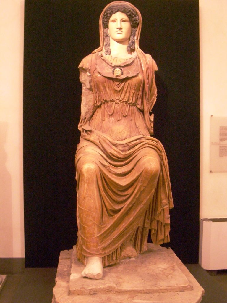 Roman Empire Marble Statue Of The Goddess Minerva This