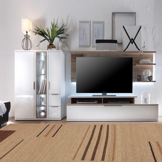 Wohnwand Salandra II (3-teilig) - Hochglanz Weiß / Eiche Sanremo - wohnzimmer in weiss braun
