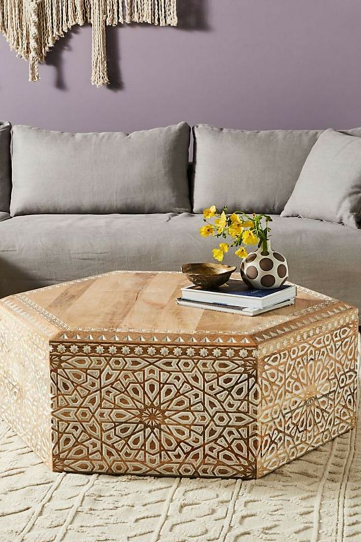 hand carved from a block of natural mango wood this on stunning wooden metal coffee table id=56641