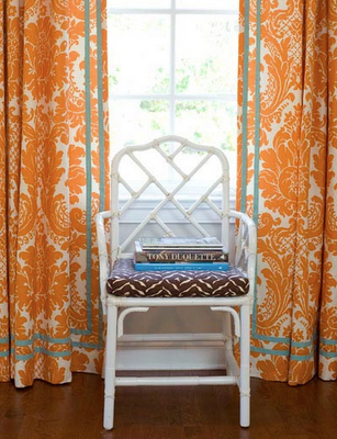 Orange Teal Curtains Bamboo Orange Curtains Chippendale Chairs Damask Curtains