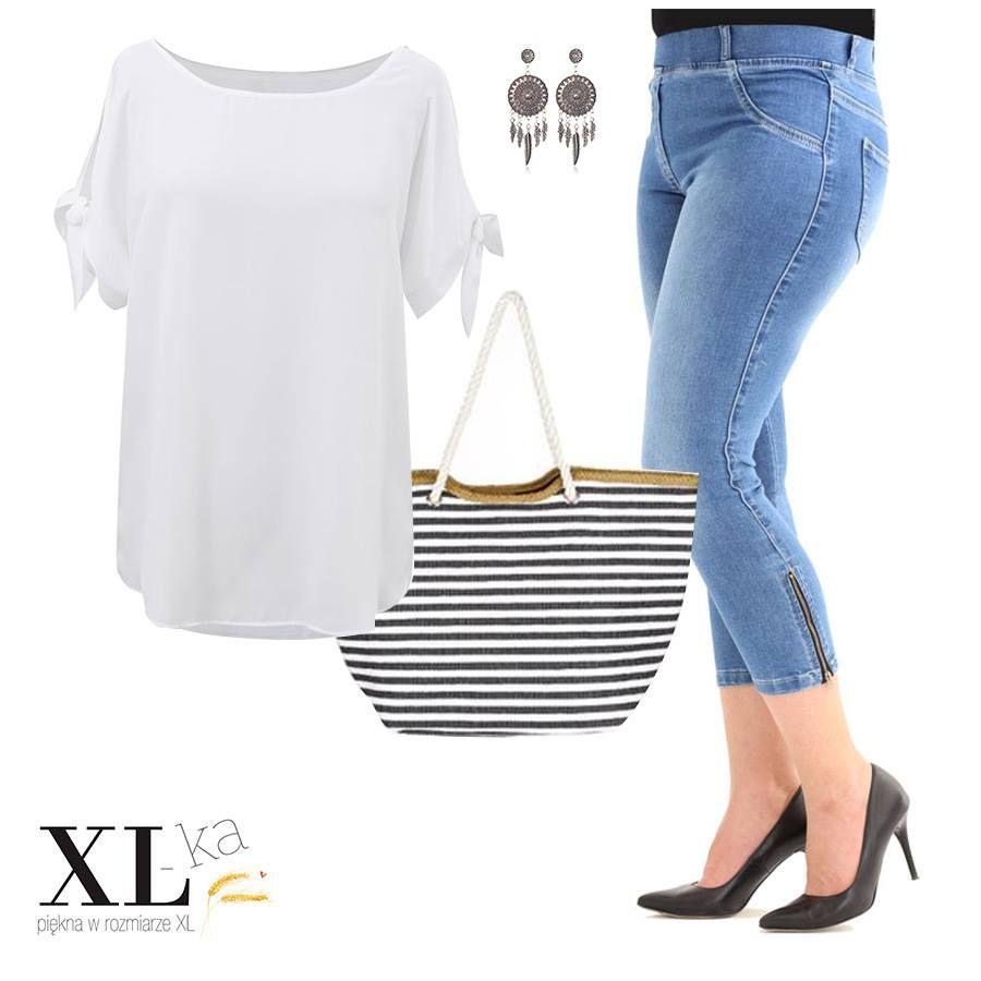 Biala Szyfonowa Bluzka Lariss Xl Ka Plus Size Outfits Plus Size Summer Fashion Plus Size