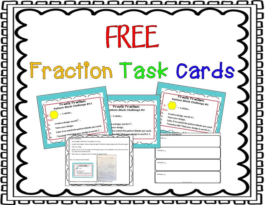 Free Equivalent Fraction Task Cards Hands On Math Fractions