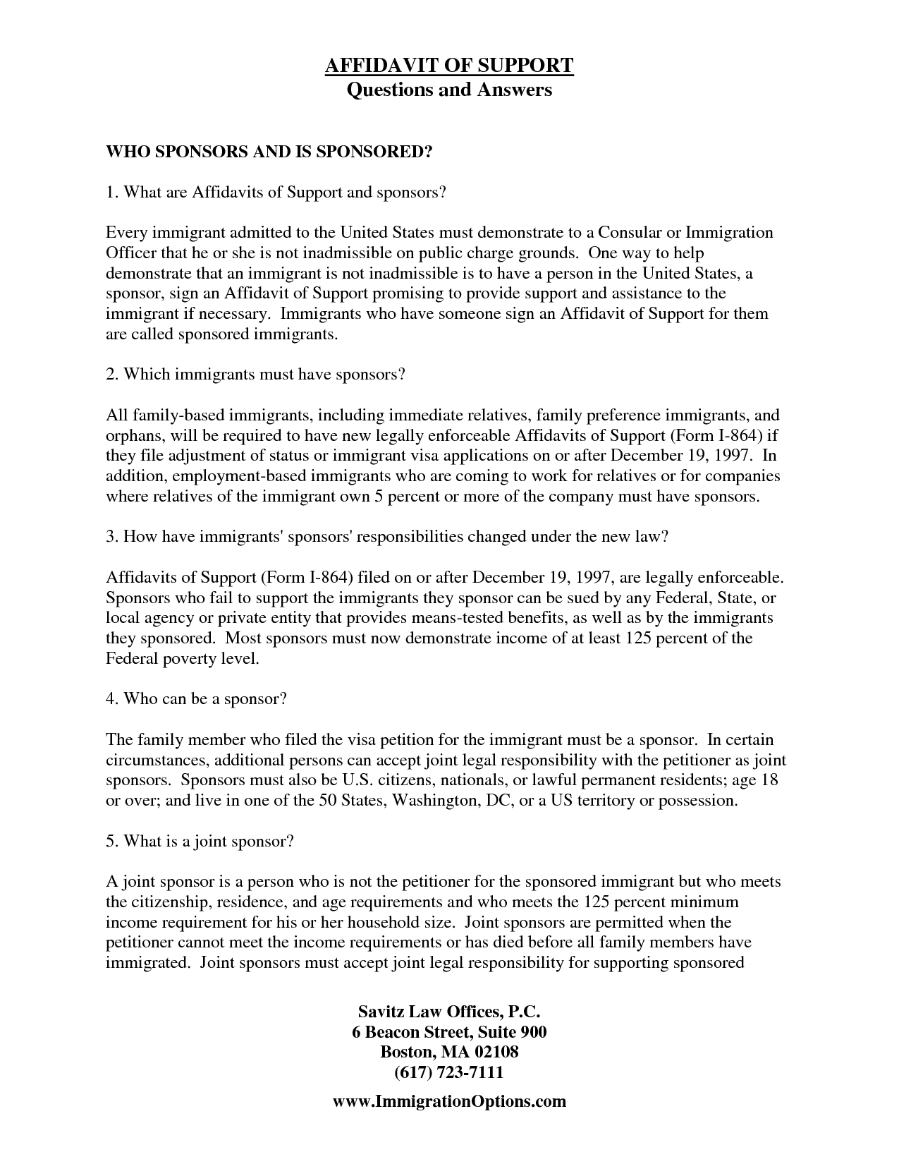 Affidavit Of Support Sample - Free Printable Documents  Support