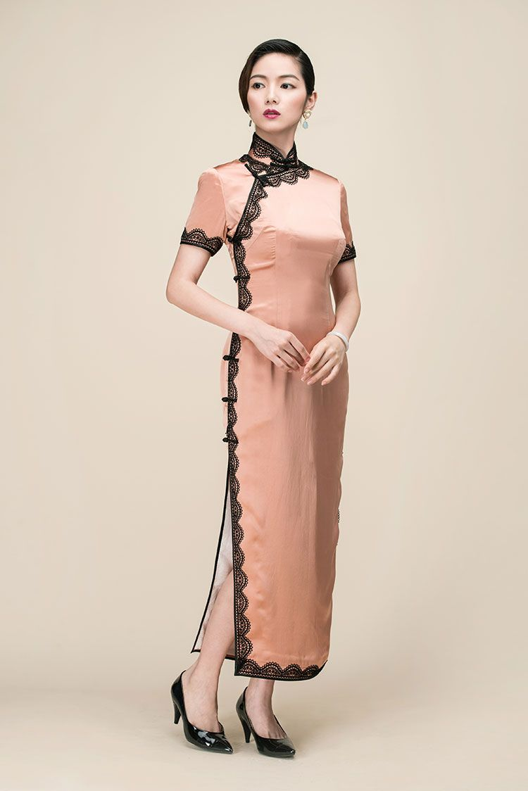 Silk satin with lace piping long qipao dress | Dresses | Pinterest ...