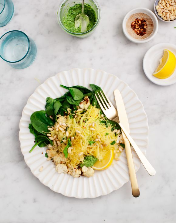 Lemon Pesto Spaghetti Squash via Love & Lemons