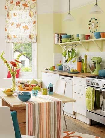 Small kitchen yellow walls bright bowls open shelves - Muebles el mogollon ...